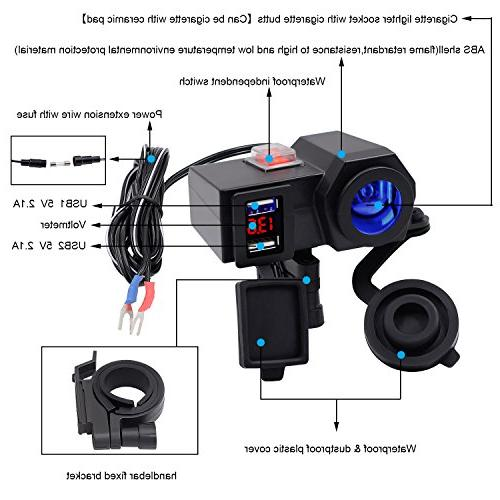 BlueFire 5V/2.1A Dual Handlebar Adapter Charger with Cigarette Socket and for
