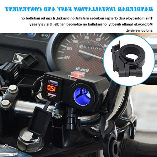 BlueFire Waterproof USB Handlebar Clamp Power Adapter Charger System with Cigarette and Voltmeter