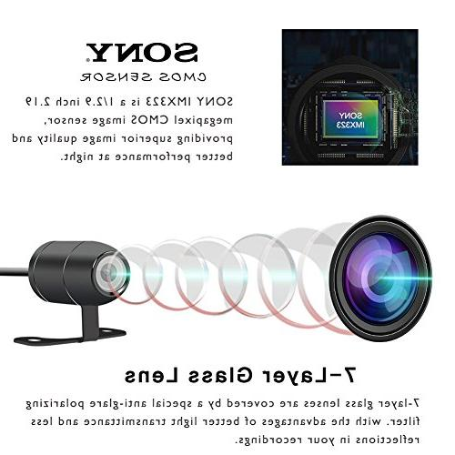 VSYSTO Motorcycle Cam DVR with Wide Angle 1080P Front and Rear Action Camera Recorder, 3.0'' LCD, Capacitor