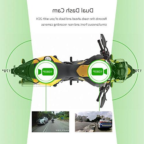 VSYSTO Waterproof Motorcycle Dual DVR with Separated Wide 1080P and Rear Action Camera Recorder, 3.0'' Capacitor