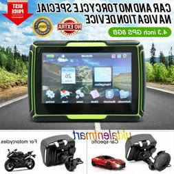 "Motorcycle 4.3"" GPS Touch Screen Bluetooth Car Navigation Sa"