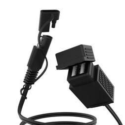 Motorcycle 5V 2.1A SAE Cable Plug to Dual USB Adapter Charge