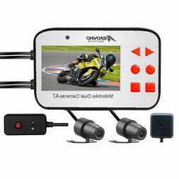 Meknic Motorcycle Camera, Dual Lens 1080P Video Security GPS