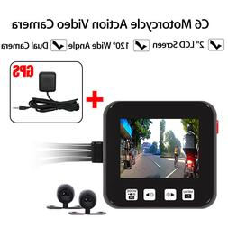 Motorcycle Camera Motorbike Dual Dash Cam Video Wide Angle D