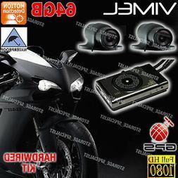 Motorcycle Dual camera MotorBike Dash Car GPS Waterproof Har
