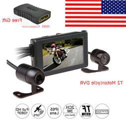 Motorcycle DVR 1080P Dual Camera GPS Driving Recorder G-Sens