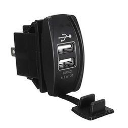 12V 24V Red LED Dual USB Charger Backlit UTV Rocker Switch F