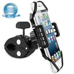 SpoLite Chrome Bike Phone Mount for Motorcycle-Bike-Bicycle Handlebars,Adjustable,Bike Phone Holder Fits Cell Phone iPhone X,8|8 Plus,7|7 Plus,6s|6s Plus,Galaxy S7,S6 for Cycling Titanium Gray