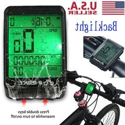 US LCD Digital Bicycle Computer Bike Backlight Speedometer O