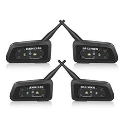 LEXIN 4x Waterproof Bluetooth Intercom System for Motorcycle