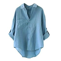 Women Long Sleeve Casual Loose Tops T Shirt Button Blouse Se